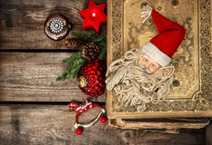 Vintage christmas decoration with antique baubles and toys Stock Photos