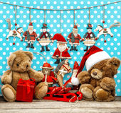Vintage christmas decoration with antique toys Royalty Free Stock Image
