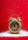 Vintage christmas decoration goldenantique golden clock Royalty Free Stock Images