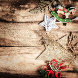 Vintage Christmas Decoration on natural wooden textured backgrou Royalty Free Stock Photo