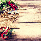 Vintage Christmas Decoration on natural wooden textured backgrou Royalty Free Stock Image