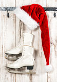 Vintage christmas decoration. Red Santa Claus hat Royalty Free Stock Photos