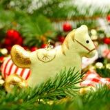 Vintage Christmas decoration, retro horse royalty free stock photo