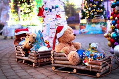 Vintage Christmas decoration with soft toys Royalty Free Stock Photography