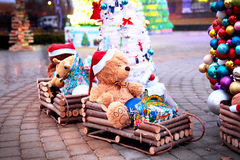 Vintage Christmas decoration with soft toys Royalty Free Stock Images
