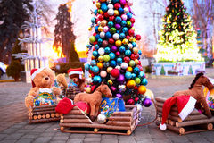 Vintage Christmas decoration with soft toys Stock Images