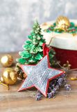 Vintage christmas decoration on wooden surface. Christmas background. royalty free stock photo