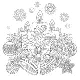 Vintage Christmas decorations for greeting card. Christmas coloring page. Holiday decorations, hanging balls, candles, jingle bells, vintage snowflakes. Freehand Stock Photo