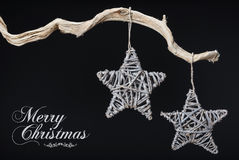 Vintage Christmas decorations hanging from tree branch Royalty Free Stock Photography