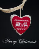 Vintage Christmas decorations hanging from tree branch Royalty Free Stock Photo
