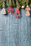 Vintage christmas decorations on old wooden background Royalty Free Stock Photography