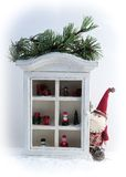 Vintage Christmas decorations. On a rural wooden shelf Royalty Free Stock Photography