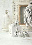 Vintage Christmas decorations in white Royalty Free Stock Images