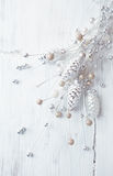 Vintage Christmas decorations in white Stock Image