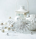 Vintage christmas decorations in white. Close up Royalty Free Stock Photo