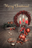 Vintage Christmas decorations on wood, text Stock Photo