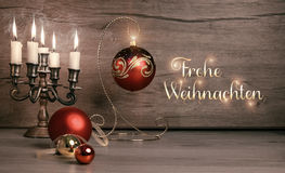 Vintage Christmas decorations on wood, text Royalty Free Stock Photos