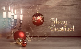 Vintage Christmas decorations on wood, text Royalty Free Stock Images