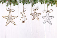 Vintage Christmas decorations on wooden background Royalty Free Stock Photo