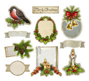 Vintage christmas decorative elements Stock Photos