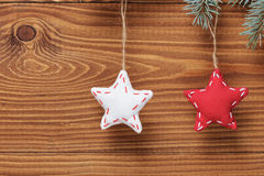 Vintage christmas decorative stars hanging Stock Photos