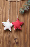 Vintage christmas decorative stars hanging Royalty Free Stock Photography