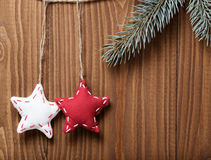 Vintage christmas decorative stars hanging Royalty Free Stock Photos
