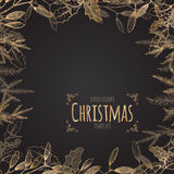 Vintage Christmas decorative template. With mistletoe and pine branches on black background. Great for greeting cards and holiday design Stock Photo