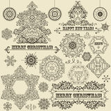 Vintage Christmas Design Elements. Vintage Christmas highly detailed design elements: fir tree, balls, snowflakes, and frames Royalty Free Stock Photo