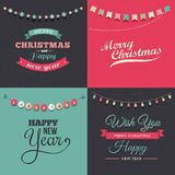 Vintage Christmas design with garlands Stock Photos