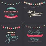 Vintage Christmas design with garlands Stock Photography