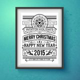 Vintage Christmas design. Realistic frame on the. Wall. Vector illustration Stock Photography