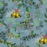 Vintage Christmas elements seamless pattern background Royalty Free Stock Images