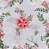 Vintage Christmas elements seamless pattern background Stock Photo