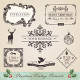 Vintage christmas elements set. Vintage christmas and new year season elements sale set. Vector illustration layered for easy manipulation and custom coloring Royalty Free Stock Image