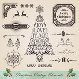 Vintage christmas elements set Stock Photos