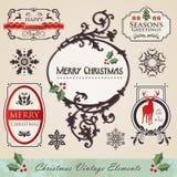 Vintage christmas elements set Stock Photos