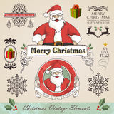 Vintage christmas elements set. Vintage christmas and new year season elements sale set. Vector illustration layered for easy manipulation and custom coloring Stock Images