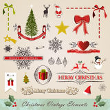 Vintage christmas elements set. Vintage stitching christmas and new year elements sale set. Vector illustration layered for easy manipulation and custom coloring Stock Image