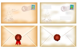 Vintage christmas envelopes Royalty Free Stock Images