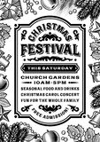 Vintage Christmas Festival Poster Black And White Royalty Free Stock Photos