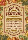 Vintage Christmas Festival Poster Stock Photos