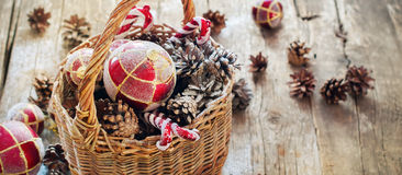 Vintage Christmas  Fir Tree Toys in Basket with Light effect Royalty Free Stock Image