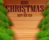 Vintage Christmas fir tree on wooden background. Illustration of Vintage Christmas fir tree on wooden background Royalty Free Stock Photo