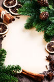 Vintage Christmas frame with winter spices Stock Photos