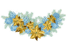 Vintage Christmas garland with blue pine cones and golden poinsettia isolated on white background. Vector illustration Stock Photo