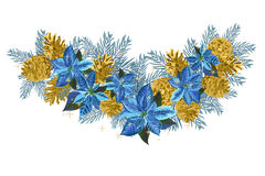 Vintage Christmas garland with golden pine cones and blue poinsettia isolated on white background. Vector illustration Stock Photo