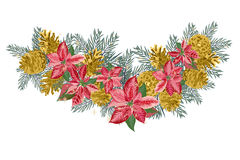 Vintage Christmas garland with golden pine cones and pink poinsettia isolated on white background. Vector illustration Royalty Free Stock Image