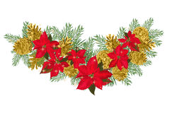 Vintage Christmas garland with golden pine cones and red poinsettia isolated on white background. Vector illustration Stock Photo
