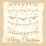 Vintage christmas garland set. Hand drawn vintage christmas garland set vector illustration Stock Photos